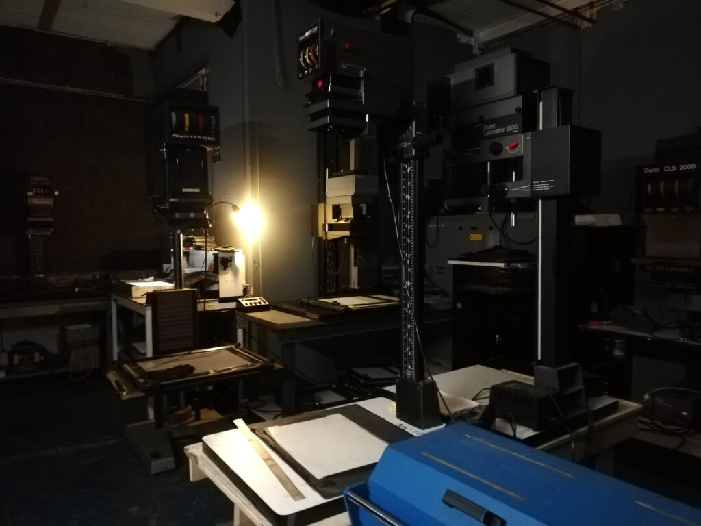 Dark room with enlargers
